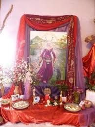 Altar to the Goddesses, Lady of Avalon, the red oses I offered to the Goddesses Pagan Altar, Wiccan, Witchcraft, Pagan Witch, Home Altar, Gods And Goddesses, Book Of Shadows, Occult, Ancient History