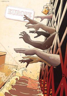 Art by Daniel Garcia - Immigrants. (illustration, immigration, africa, europe, boats, migration, mediterranean, death)