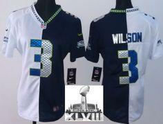 Women's 2015 Super Bowl XLIX Jerseys Seahawks 3 Russell Wilson Blue Limited Jersey