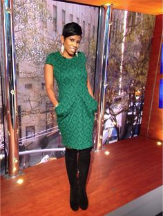 Host Jacque Reid wearing beautiful green dress paired with black knee high boots! #newyorklivetv #womensfashion #kneehighs