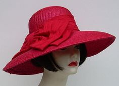 """Red Milan 5"""" Brim/Shantung Bow by HAT-A-TUDE"""