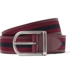 Gucci3cm Striped Webbed Leather Belt