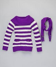 Dollhouse Black & Gray Stripe Cardigan & Scarf