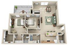 Our Wilshire (B3) floor plan hosts 1238 sq ft.  It has 2 bedrooms and 2 bathrooms.