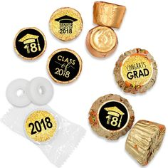 Graduation is SWEET - use these black and gold Class of 2018 candy stickers to make stylish Grad Party Favors. Free Shipping on Orders $20+.