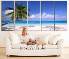 LARGE CANVAS ART - Beach Canvas Print   Beach and Palm Art Canvas Print  Tropical Island Canvas Printing