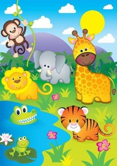 Jungle cartoon, cute animal illustration, animal illustrations, childrens b Jungle Decorations, School Decorations, Art Drawings For Kids, Drawing For Kids, Art Wall Kids, Art For Kids, Jungle Animals, Cute Animals, Jungle Cartoon
