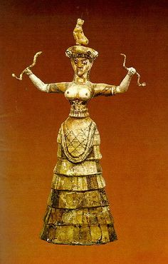 "Minoan snake goddess    body and headpiece original , head restored; ca. 26cm (10"") high. Origin: The Palace at Knossos, West Temple Repository, MM III-LM IA. Now in Archaeological Museum of Heraklion, Crete Inv.no. 63."