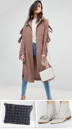 White t-shirt+skinny jeans+grey bow ankle boots+navy studded clutch or white chain shoulder bag+brown trenchcoat. Spring Casual Outfit 2017