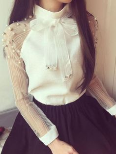White Patchwork Pearl Grenadine Bow Elegant Loose Blouse - Another! Fashion Mode, Look Fashion, Korean Fashion, Blouse Styles, Blouse Designs, Classy Outfits, Stylish Outfits, Stylish Dresses, Fashion Dresses