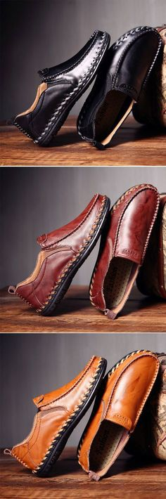 Men Leather Hand Stitching Soft Breathable Slip On Casual Shoes