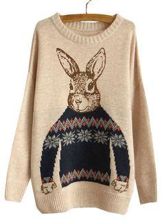 Korean Women Rabbit Print Knitted Sweater Jumper Tops Pullover Cardigan Knitwear