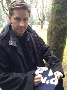 """The """"Traveling Jersey"""" visits the Once Upon A Time Set Josh Dallas"""