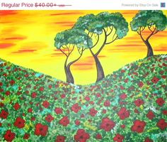 ETSYCIJ14 Sale Event Custom Acrylic Poppy Field by ToniTiger415, $32.00