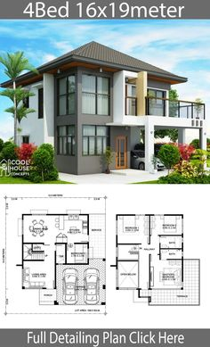 House design plan with 4 bedrooms - Home Design with Plan Two Story House Design, 2 Storey House Design, Duplex House Plans, Bungalow House Design, House Front Design, Small House Design, Dream House Plans, Modern House Design, House Layout Plans