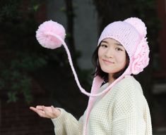 PINK  Hand Knit Hat The Ear Flap Hat pompom Chunky by Magicdoll, $47.00