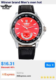 Winner brand Men's men hot Mechanical skeleton automatic fashion dress watches auto date PU leather band red dial double hand * Pub Date: 20:20 Jul 10 2017