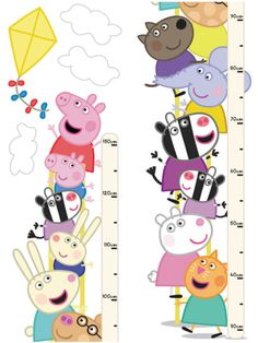 Peppa Pig Height Chart - Brewers Wallpapers - A fun and quirky Peppa Pig and friends self adhesive Height Chart, brilliant for a child's bedroom or playroom, made up of two pieces. Dimensions are not as stated below. SAMPLES NOT AVAILABLE. Bedroom Themes, Kids Bedroom, Cumple George Pig, Peppa Pig Teddy, Pig Crafts, Height Chart, Pig Party, Kid Character, Toy Store