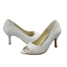 Spitze Stiletto Pumps Büro & Karriere, Hochzeitszeremonie, Abendgesellschaft, Party Hochzeitsschuhe- Weiß