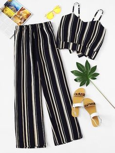 Navy Blue Striped Cami Top With Wide Leg Pants Outfit Girls Fashion Clothes, Teen Fashion Outfits, Look Fashion, Outfits For Teens, Girl Outfits, Fashion Tag, Fashion Black, Cheap Fashion, Street Fashion