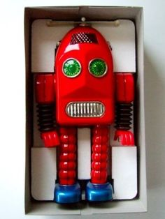 Red Robot Toy in Box | Vintage and Retro Space Age Raygun, Rocket and Robot Toys…