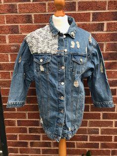 Embellished denim jacket by HandmadeAtelierUK on Etsy