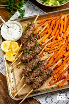 Yummy Beef Kofta Tray Bake - authentic Kofta kebabs with sweet potato fries and delicious roasted vegetables all finished off with a garlic yoghurt sauce. for an easy any day meal. Gluten Free, Slimming World and Weight Watchers friendly Vegetable Recipes, Meat Recipes, Food Processor Recipes, Drink Recipes, Beef Kofta Recipe, Night Food, Heart Healthy Recipes, Delicious Recipes, Tasty