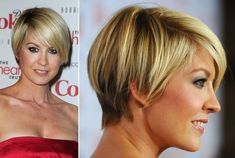 Jenna Elfman's short layered razor cut.