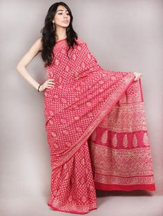Red White Hand Block Printed Cotton Saree in Natural Colors - S03170831