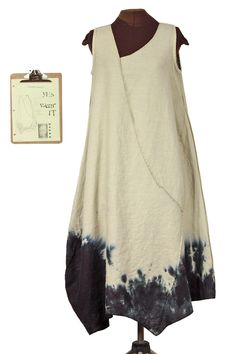 RESERVED For K. G. J. Please don't purchase this unless you are she! Thanks. Lady Inkhem, I presume. Long sculpted tan linen dress with freeform inky black sect