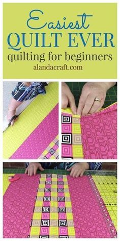 Sewing Block Quilts Quilting for beginners. This is one of the easiest quilts to make. No binding and super fast. Free step-by-step video and written instructions for this quilting pattern. How to make a quilt for beginners. Quilting For Beginners, Sewing Projects For Beginners, Quilting Tips, Quilting Tutorials, Quilting Projects, Sewing Tutorials, Beginner Quilting, Machine Quilting, Crazy Quilting