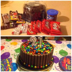 So I wanted to make a copycat m cake I pinned a few days ago for my son's 21st birthday. But as a working mom I don't have time to bake these days. So this was my solution to my problem:) MNM cake