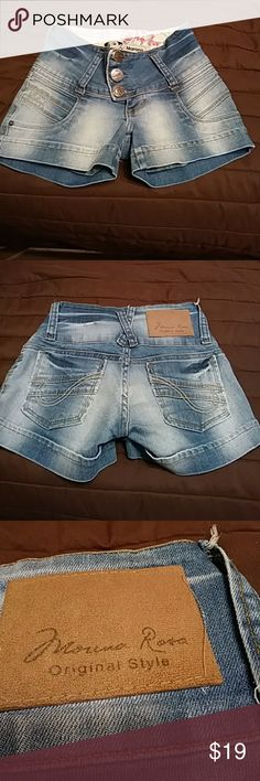 """Morena Rosa High Waist Shorts Denim shorts by Brazilian designer are in EXCELLENT Preowned condition.  Size 36...My measurements laying flat:  Waist 22"""",  low-rise is 7""""and hips a little over 30"""". Morena Rosa Shorts Jean Shorts"""