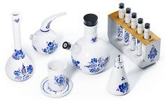 A tea set made to look like a chemistry set.