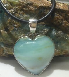 Peruvian Blue Opal Heart  Pendant In Sterling by BlueElkCarvings