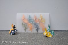 Great Origami Garland with japanese papers! Handmade by Lou et Leon! Origami Garland, Japanese Paper, Bunny, Kids, Handmade, Garland, Young Children, Cute Bunny, Boys