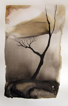Pablo S. Herrero: Images of drought Chinese ink and white clay on paper Watercolor Art, Community Art, Art Painting, Ink Art, Tree Art, Painting, Illustration Art, Art, Landscape Art