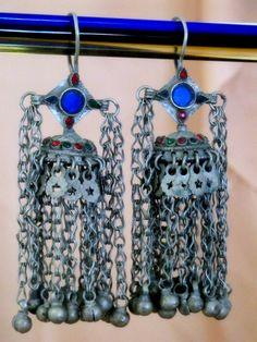 ☮ American Hippie Bohemian Style ~ Boho Jewelry .. Large Vintage Kuchi Tribal Dangle Earrings