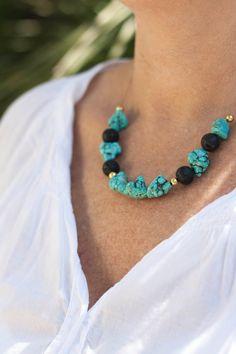 Necklace turquoise stones and black Lava Boho by MartaDissenys