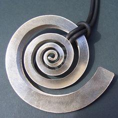 Large silver swirl pendant | Contemporary Necklaces / Pendants by contemporary jewellery designer Debbie Long