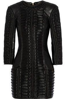 Balmain Stitched wool-paneled leather mini dress | NET-A-PORTER