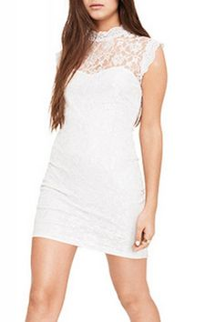 Back Hollow-out Lace Sleeveless Bodycon Dress 16.99$
