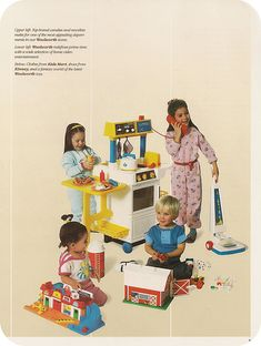 Mattel Early Toys (Source Unknown) (by ittybittybirdy) 1980s Toys, Retro Toys, Early 90s Toys, 90s Childhood, Childhood Memories, Vintage Advertisements, Vintage Ads, Nostalgia, Vintage Fisher Price
