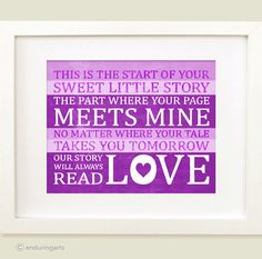 Nursery DECOR art print The Start of Your Sweet Little Story in purple lilac