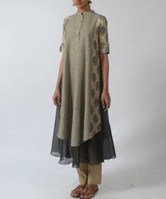 Buy Beige & grey motif printed layered kurta by Myoho at Aza Fashions Pakistani Dresses, Indian Dresses, Indian Outfits, India Fashion, Boho Fashion, Fashion Outfits, Fashion Design, Indian Attire, Indian Wear