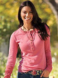 Women's Stretch Lace Knit Henley