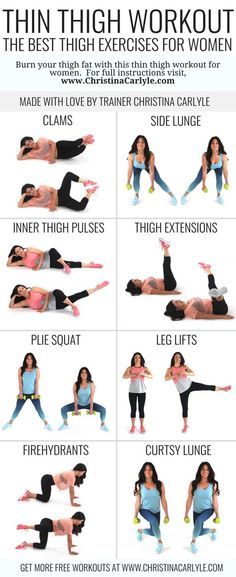 Thin Thigh Workout | The best fat burning thigh exercises | Beginner workout | Workout for Women | Home Workout | https://www.christinacarlyle.com/thin-thigh-workout-the-best-fat-burning-thigh-exercises/