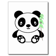 Panda with Bamboo Post Card