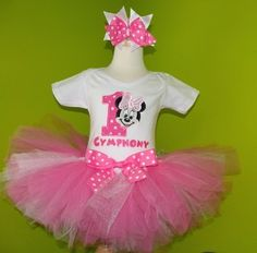 Pretty Pink Minnie Mouse Face Birthday Tutu Outfit...