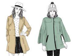 Catalina Bu  Ilustración otoño/invierno revista Mujer Catalina Bu, Raincoat, Mendoza, Chile, Jackets, Fashion, Fall Winter, Women, Illustrators
